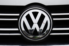 Vw logo. On a car stock photo