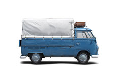 VW T1 truck. Old blue VW T1 isolated on white Royalty Free Stock Photo