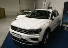 VW Tiguan displayed at 3rd edition of MOTO SHOW in Cracow. Poland. Exhibitors present  most interesting aspects of the automotive industry Stock Photography
