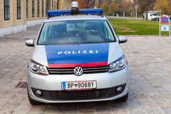 VW Touran as a police car in Vienna, front view Stock Photos