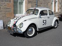 VW Type 1 Beetle, made in 1964, white, replica of Herbie. Volkswagen Type 1 Beetle, 1.6lt, white, made in 1964. This car is a replica of the one from the Movies stock image