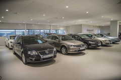 VW used cars for sale. Used cars for sale. Photo have been shot in the showroom to Dahle Auto AS Halden, Norway. Dahle Auto AS dealer Volkswagen passenger cars Royalty Free Stock Photo