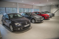 VW used cars for sale. Used cars for sale. Photo have been shot in the showroom to Dahle Auto AS Halden, Norway. Dahle Auto AS dealer Volkswagen passenger cars Royalty Free Stock Photos