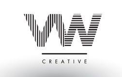 VW V W Black and White Lines Letter Logo Design. Stock Photos