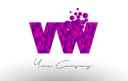 VW V W Dots Letter Logo with Purple Bubbles Texture. Royalty Free Stock Image