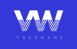 VW V W Dotted Letter Logo Design with Blue Background. Stock Photos