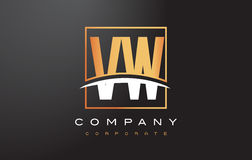 VW V W Golden Letter Logo Design with Gold Square and Swoosh. Stock Image