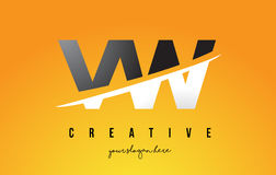 VW V W Letter Modern Logo Design with Yellow Background and Swoo Royalty Free Stock Images