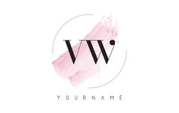 VW V W Watercolor Letter Logo Design with Circular Brush Pattern Royalty Free Stock Photo