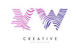 VW V W Zebra Lines Letter Logo Design with Magenta Colors Stock Photography
