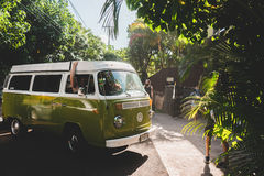 VW van on sunny streets Royalty Free Stock Photo