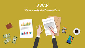 Vwap volume weighted average price concept. With businessman work on paper document with graph chart money and wallet vector Stock Photography