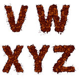 VWXYZ, lettres d'alphabet anglais, faites de grains de café, dans le grunge Photographie stock libre de droits