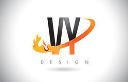 VY V Y Letter Logo with Fire Flames Design and Orange Swoosh. Stock Image