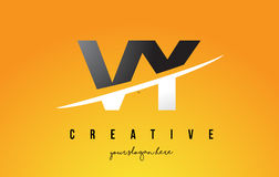 VY V Y Letter Modern Logo Design with Yellow Background and Swoo. VY V Y Letter Modern Logo Design with Swoosh Cutting the Middle Letters and Yellow Background Royalty Free Stock Photos