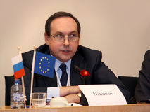 Vyacheslav NIKONOV tijdens het Europese forum in de EU Royalty-vrije Stock Fotografie