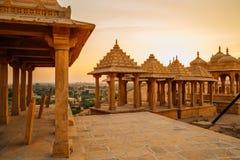 Vyas查特里日落视图在贾沙梅尔,印度 图库摄影