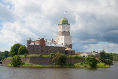 Vyborg castle closeup cloud day in august. Vyborg Royalty Free Stock Photo