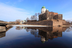 Vyborg Castle reflected in a pond Stock Photography