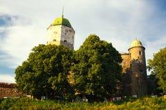 Vyborg Castle in sunset light Stock Photos