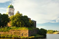 Vyborg Castle in sunset light Stock Images