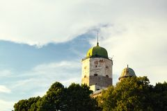 Vyborg Castle in sunset light Royalty Free Stock Photos