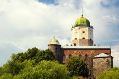 Vyborg Castle in sunset light Stock Photography