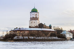 Vyborg Castle on a winter morning Stock Photos
