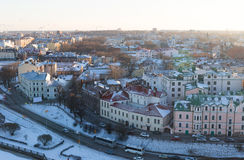 Vyborg with colorful houses roofs on the banks of the river embankment was a bright sunny day Stock Photo