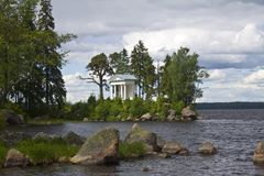 Vyborg. Mon Repos park. Temple of Neptune Stock Images