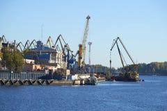 Vyborg port october evening. Leningrad region Royalty Free Stock Images