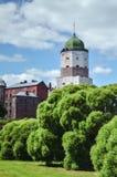 VYBORG, RUSIA: el castillo viejo medieval en el 15 de junio de 2015, LENINGRAD OBLAST, Rusia fotografía de archivo