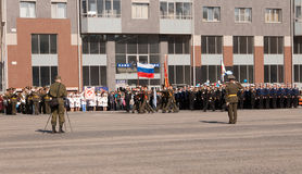 VYBORG, RUSIA - MAYO 08,2012: desfile del día de la victoria Imágenes de archivo libres de regalías