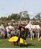 VYBORG, RUSLAND - AUGUSTUS 17, 2013: Foto van Ruitertoernooien van ridders Royalty-vrije Stock Afbeelding