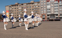 VYBORG, 08,2012 RUSLAND-MEI: de Parade van de overwinningsdag op rood vierkant Royalty-vrije Stock Foto
