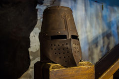Helmet. Vyborg, Russia, August 2016, Historical and Architectural Museum-Reserve Castle:Metal military protective medieval helmet. Vyborg, Russia, August 2016 Royalty Free Stock Image