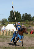 VYBORG, RUSSIA - AUGUST 17, 2013: Photo of Equestrian tournament of knights. Royalty Free Stock Images