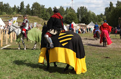 VYBORG, RUSSIA - AUGUST 17, 2013: Photo of Equestrian tournament of knights. Stock Image
