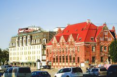 Beautiful ancient architecture of the city of Vyborg, close-up royalty free stock image