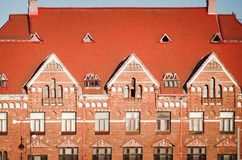 Beautiful ancient architecture of the city of Vyborg. Fragment of an old beautiful building stock image