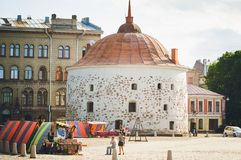 Medieval fortress. Tourist attractions of Vyborg stock photo