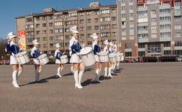 VYBORG, RUSSIA-MAY 08,2012: parada do dia da vitória no quadrado vermelho Foto de Stock Royalty Free
