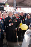 VYBORG, RUSSIA-MAY 08,2012: victory Parade in red square. War veterans Stock Photo