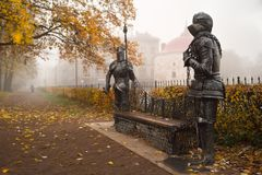 Vyborg, Russia - October 21, 2018: Monument to ancient knights. The market square in the background. Foggy morning stock images