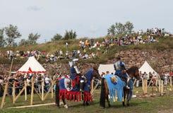 VYBORG, RUSSIE - 17 AOÛT 2013 : Photo du tournoi équestre des chevaliers Photos libres de droits