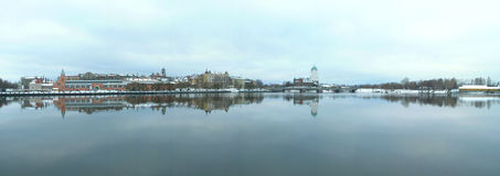 Vyborg's gulf. Panoramic view to vyborg castle and market square Royalty Free Stock Photo