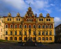 Vyborg Utrzymane cechy średniowieczny miasto St Olaf kasztel, targowy kwadrat, domy i góruje, woda i kamień obrazy royalty free
