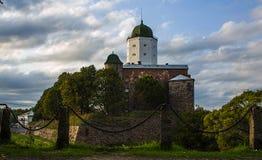 Vyborg Utrzymane cechy średniowieczny miasto St Olaf kasztel, targowy kwadrat, domy i góruje, woda i kamień zdjęcia stock