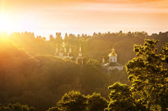 Vydubitsky monastery in Kiev. In the sunset Royalty Free Stock Photos