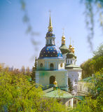 Vydubychi monastery in spring. Kyiv, Ukraine. Stock Photos
